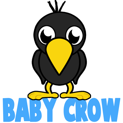 How To Draw Cartoon Baby Crows In Easy Step By Step Lesson How To Draw Step By Step Drawing Tutorials Karga Cizimler Cizim
