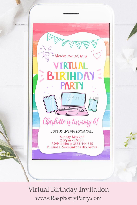 Virtual Birthday Party in 2020 Birthday invitations