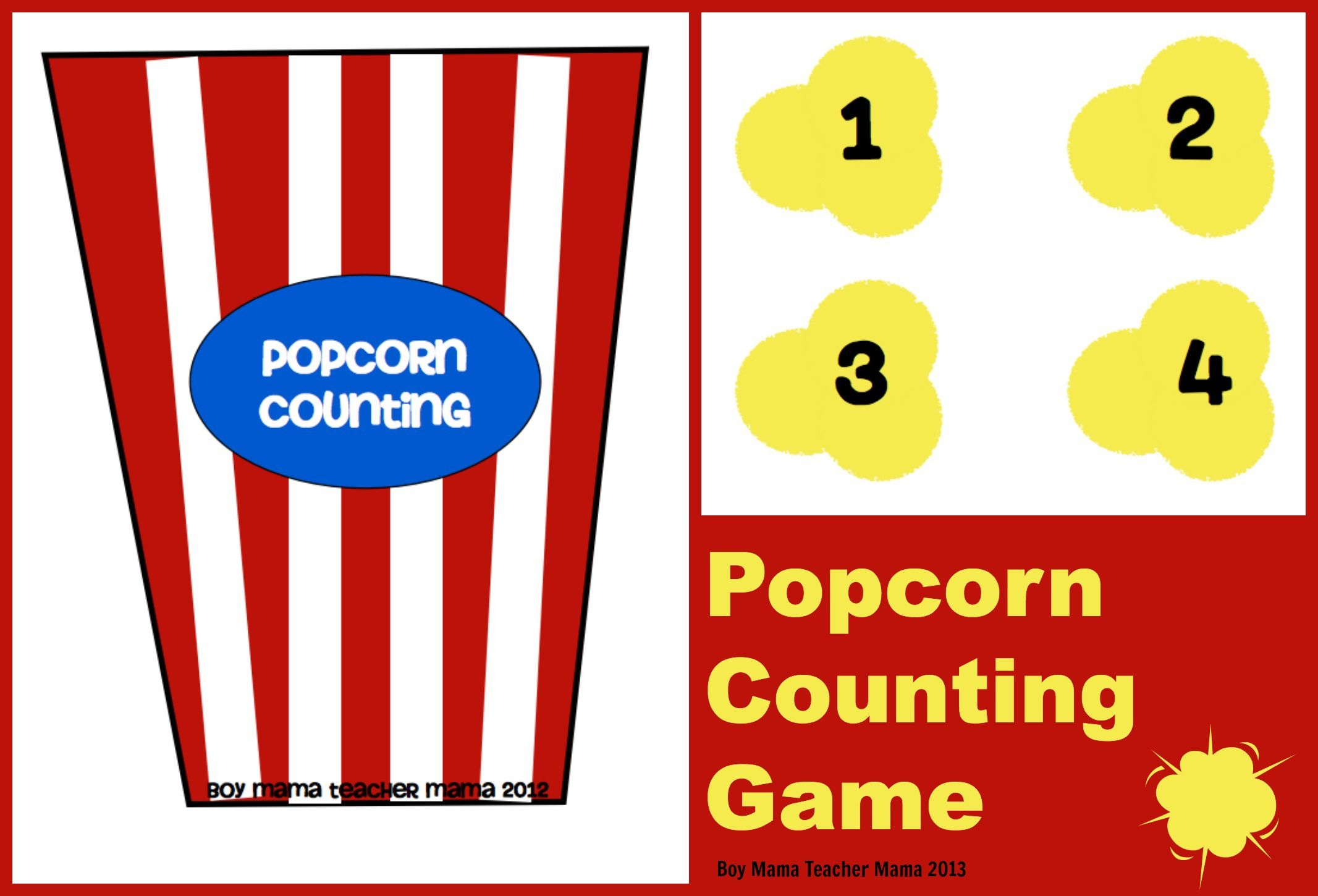 Teacher Mama: Popcorn Counting Game | Counting games ...