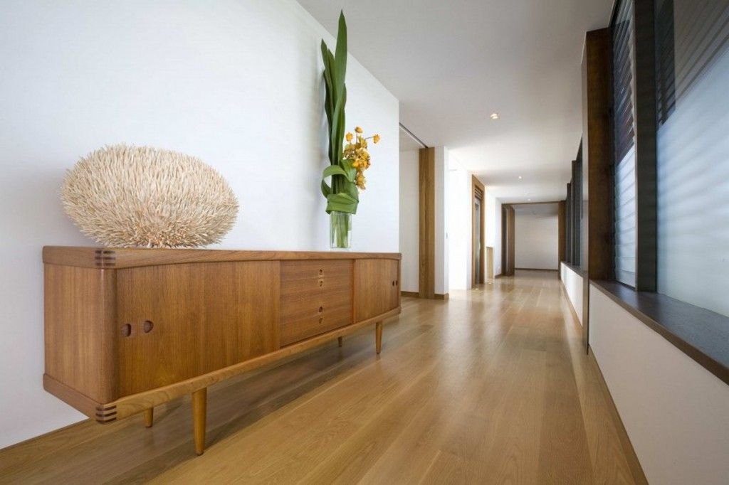 Amazing Long Corridors Of The Contemporary Beach Home With Natural Wood Buffet  Table Design Ideas: Luxurious