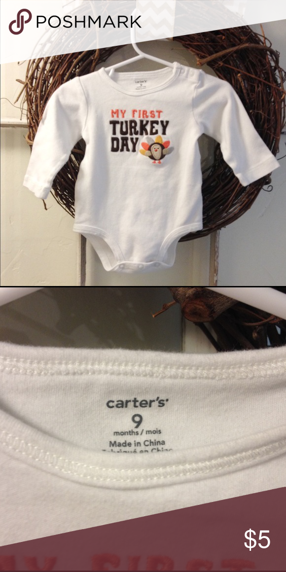Carter's thanksgiving onesie Worn once. In great condition and no stains! Carter's Shirts & Tops Tees - Long Sleeve