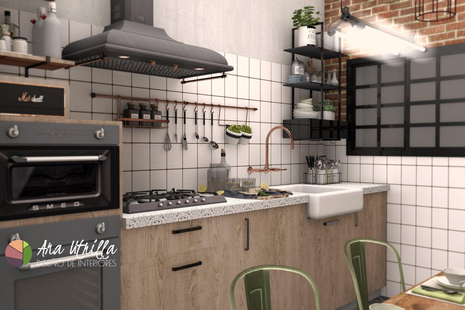 alzado de cocina de estilo industrial retro en 3d por ana utrilla