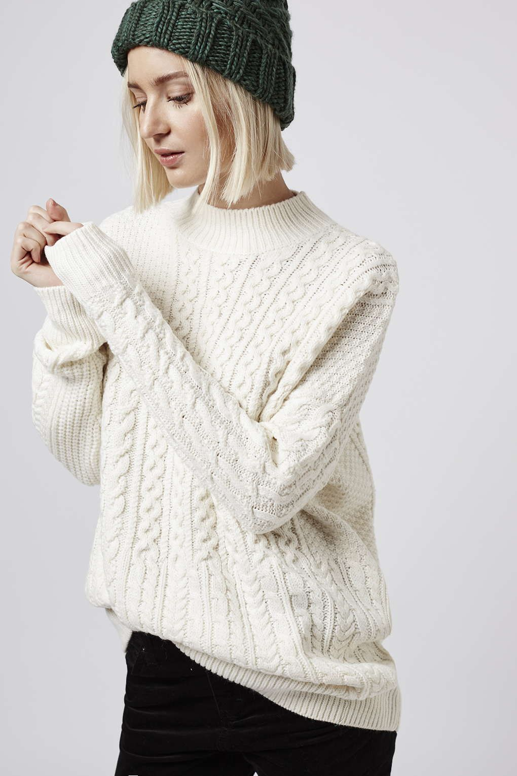 TALL Patchwork Cable Jumper - Topshop