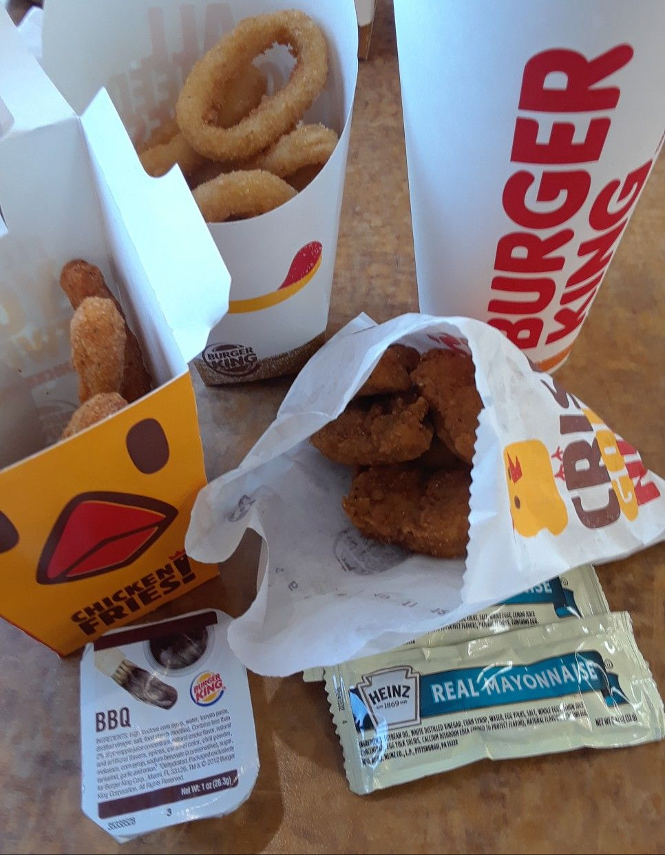 Lunch 2 22 2018 Burger King Chicken Nuggets Chicken Fries Onion