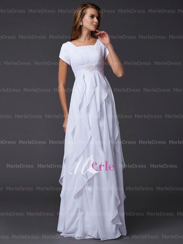 Charming Sheath/Column Square Chiffon Floor-Length Dress