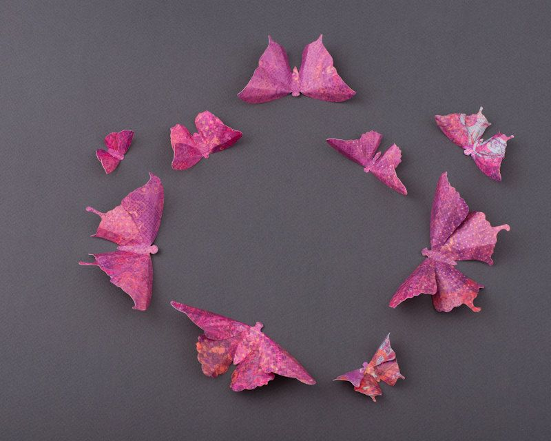 3D Butterfly Wall Art: 20 Orchid Lace Paper Butterflies for Wall Decor, Nursery, Children's Room. $42.00, via Etsy.