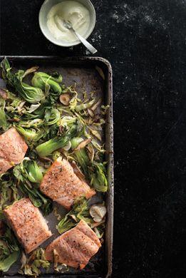 Wasabi Salmon with Bok Choy, Green Cabbage, and Shiitake Mushrooms.