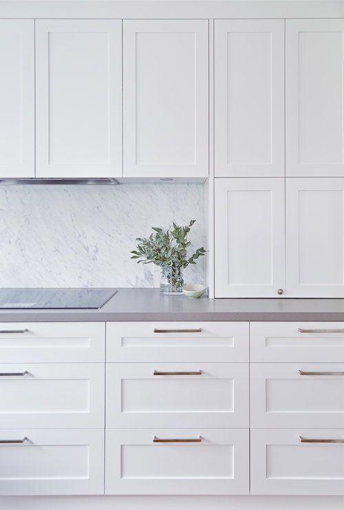 Love the seamless look of f the rangehood marble backsplash gray countertops a Gray Kitchen Cabinets Backsplash countertops Gray Love Marble rangehood seamless #graycabinets