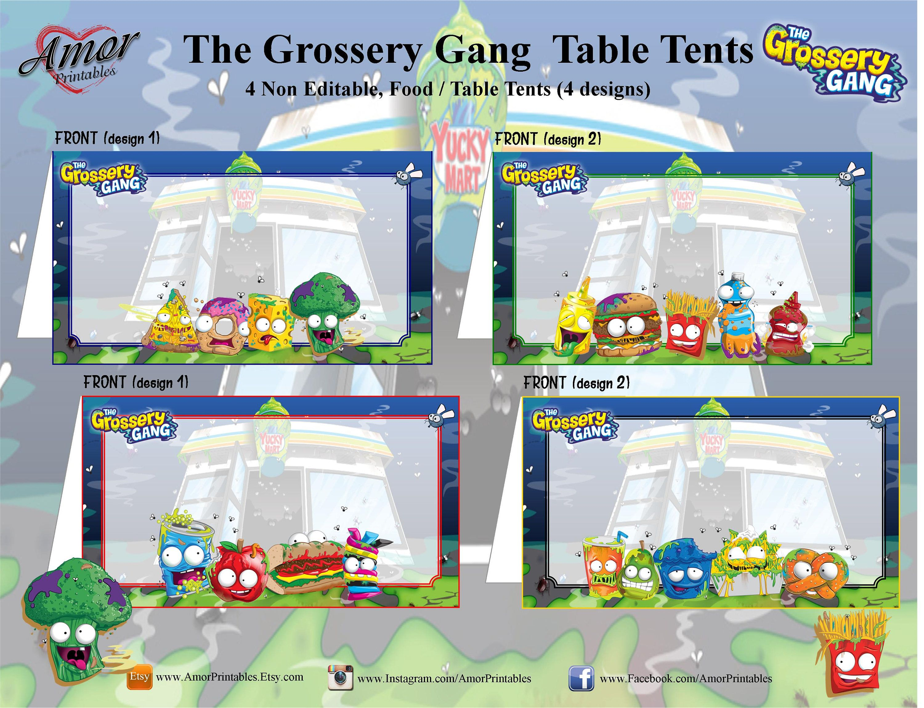 Grossery Gang Table Food Tent Card | Grossery Gang Party | Party ...