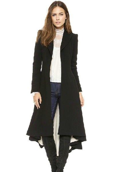 51c5d4f70c0f Cheap New Style Turndown Collar Long Sleeves Asymmetrical Draps Design  Black Long Trench Coat on Luulla