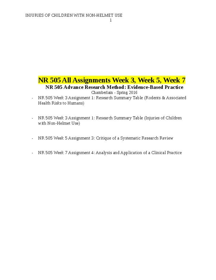 NR 505 Week 3 Assignment 1 Research Summary Table (Rodents NR - executive summary