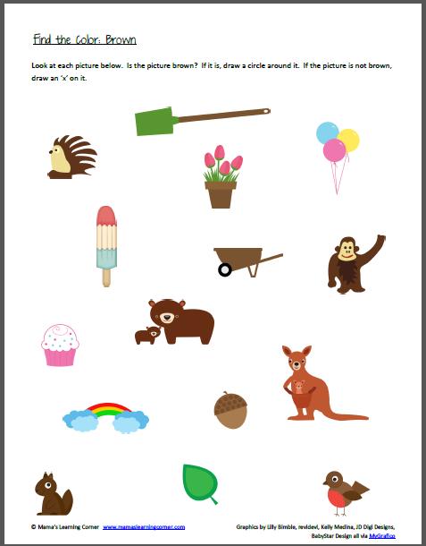 Color Recognition Find the Color Brown Preschool colors