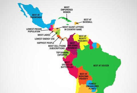 What Every Latin American Country Is Best at Travel and Country - best of world map countries picture