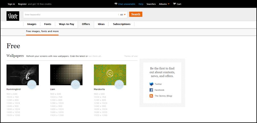 Veer  – É um site que vende imagens e semanalmente oferece uma galeria com imagens grátis.
