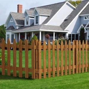 Outdoor Essentials 3 Ft X 6 Ft Pressure Treated Cedar Tone Moulded Wood Fence Panel 162522 With Images Outdoor Essentials Picket Fence Panels Fence Panels