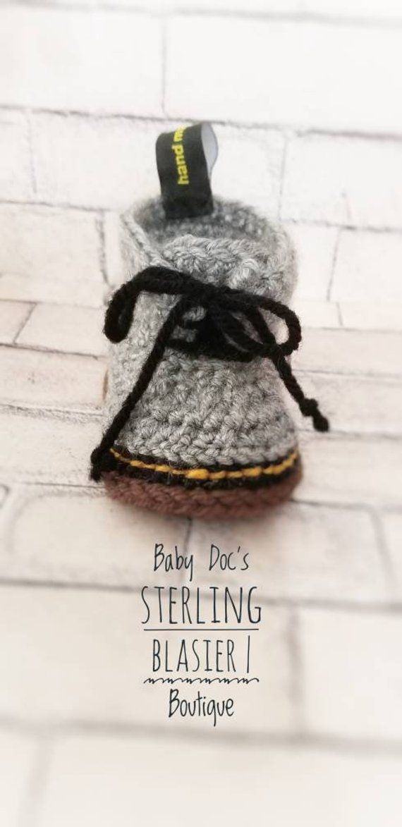 fb5cb56bc28e2 Crochet Dr. Martens - Baby Booties-Baby Boy Clothes -Baby Booties ...