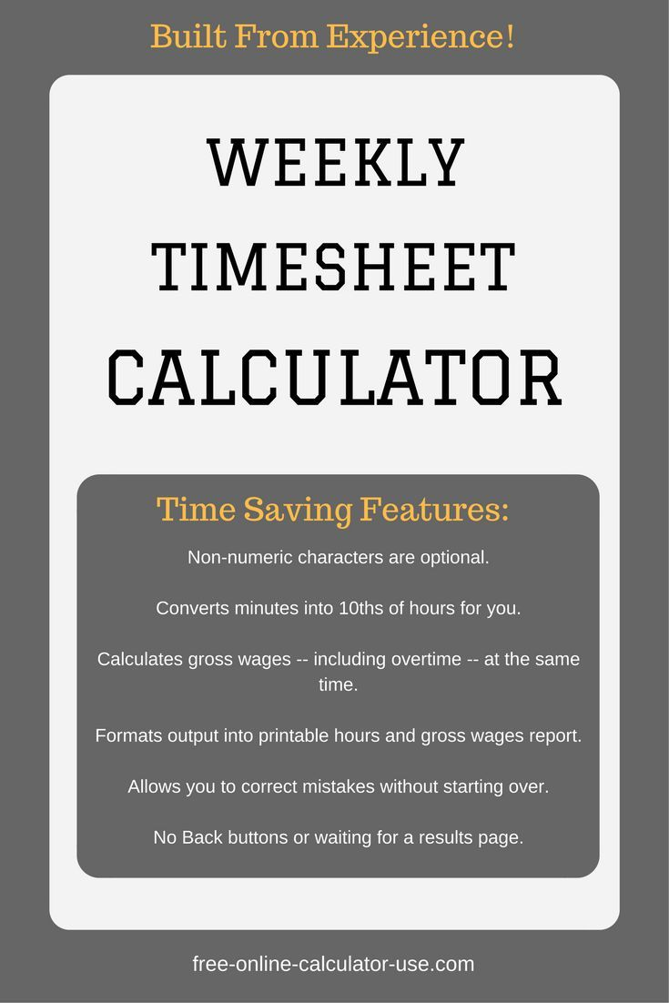 The Weekly Timesheet Calculator On This Page Will Help You Reduce Time Are Spending Manual Payroll Processing