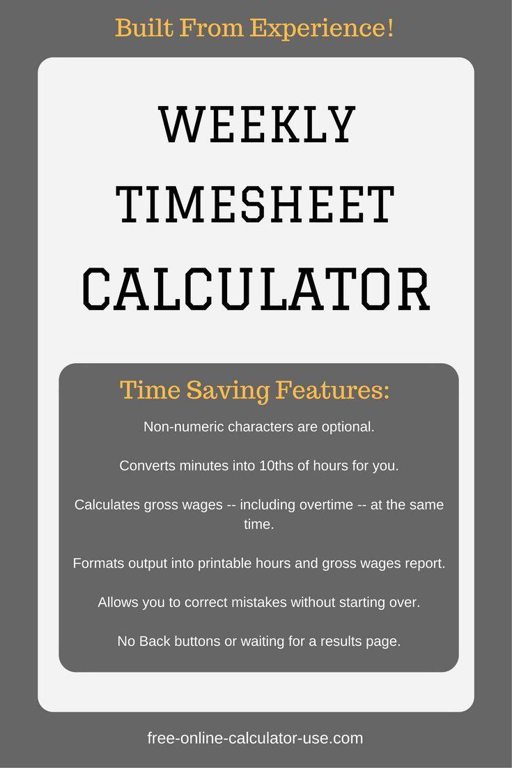weekly timesheet calculator with lunch break millennial mindset
