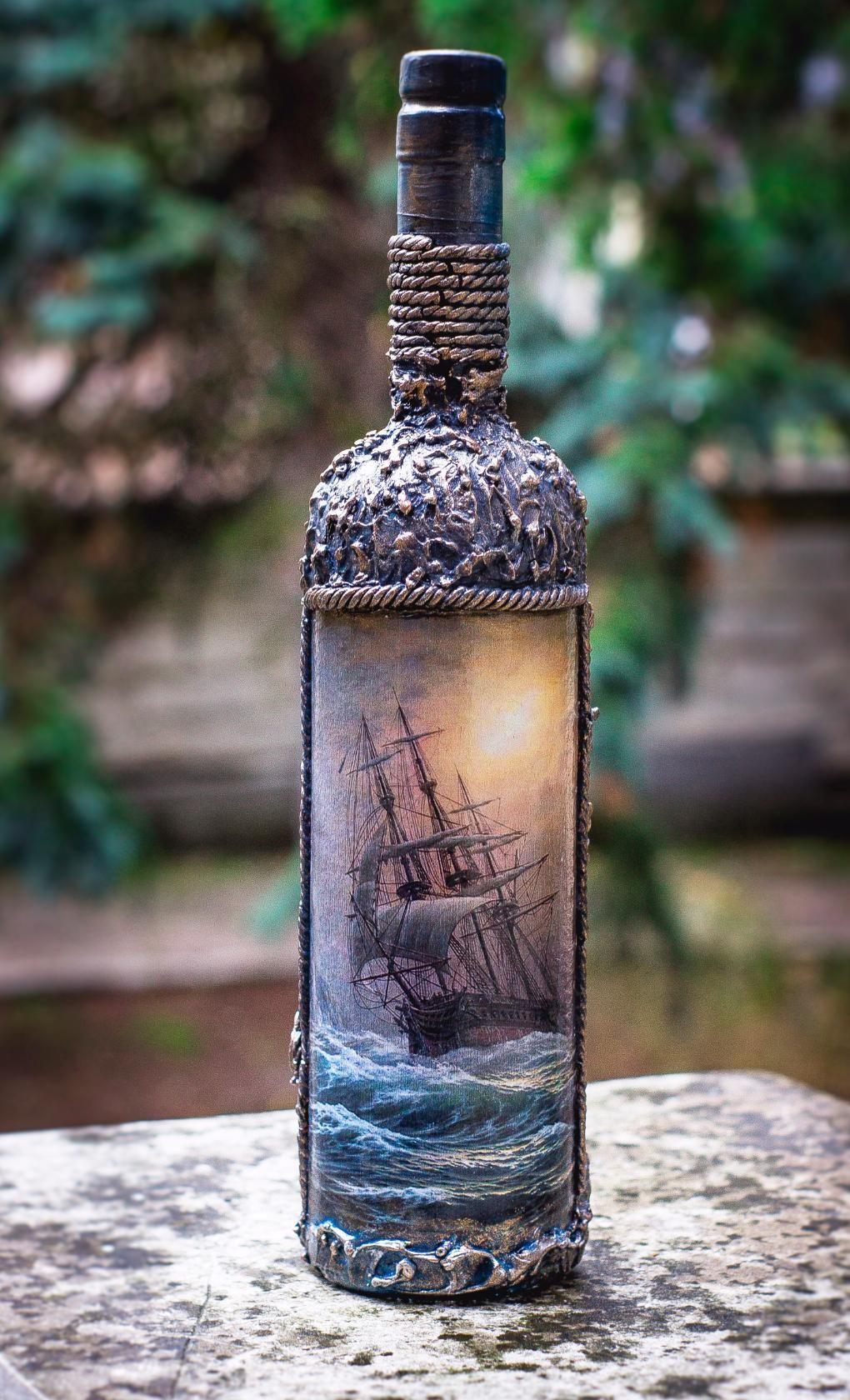 Декор бутылки с вином фото