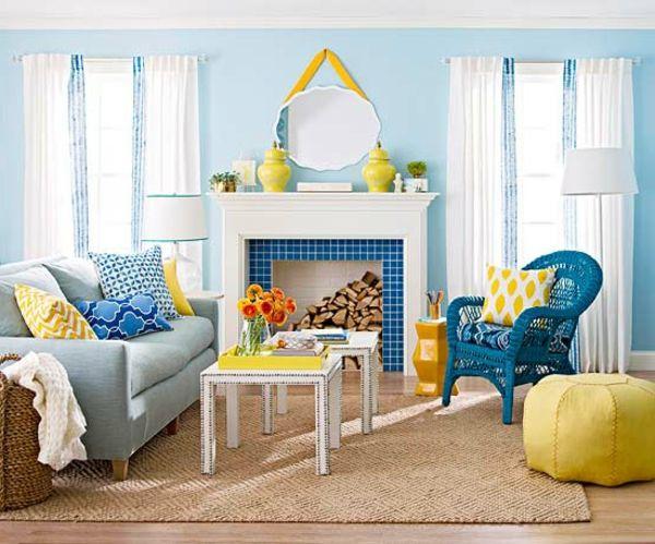 Blaue Farbpalette für das Interior Ihrer Wohnung Attic - wohnzimmer gelb blau