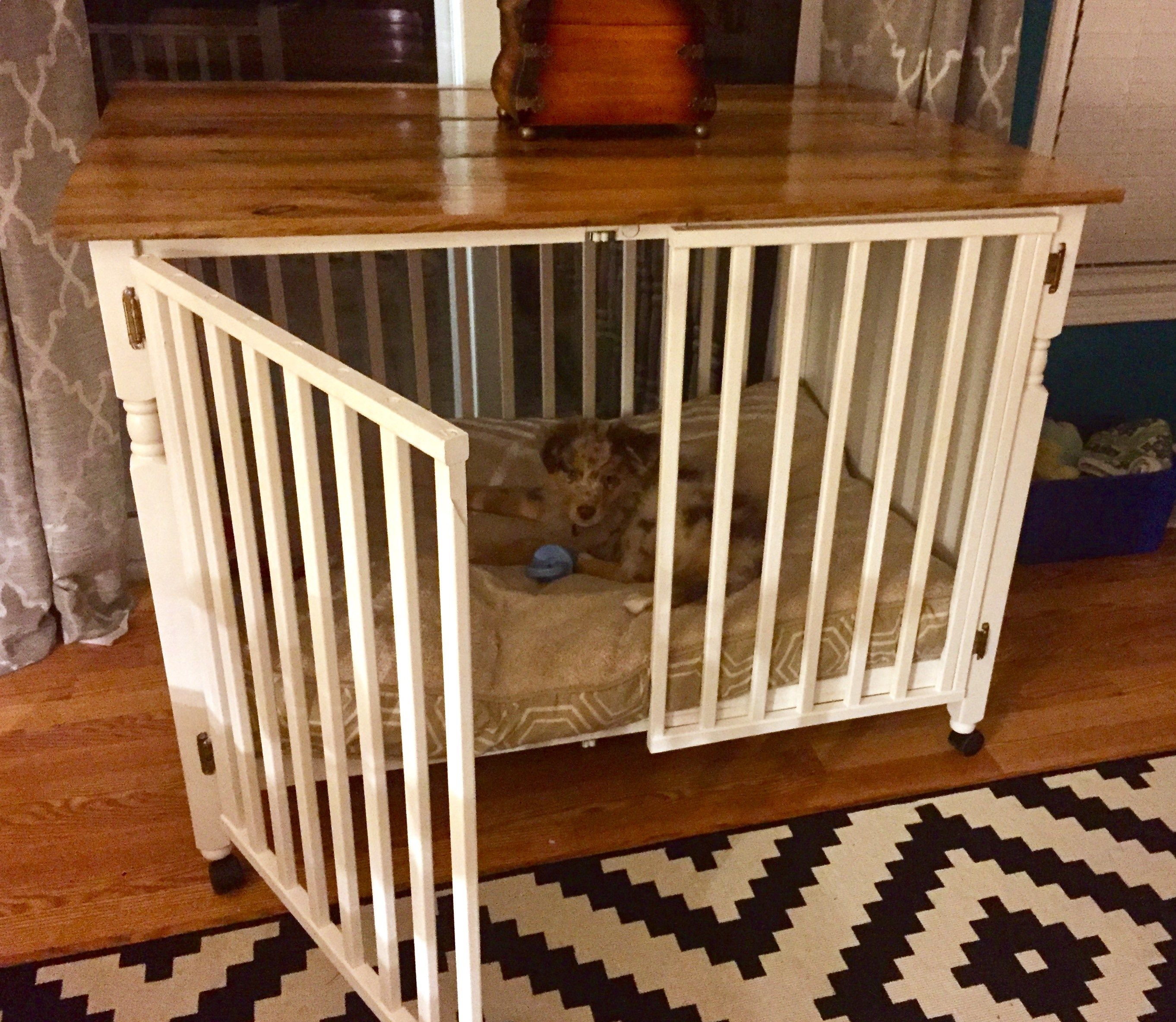 Repurposed crib to dog crate with barn board table top