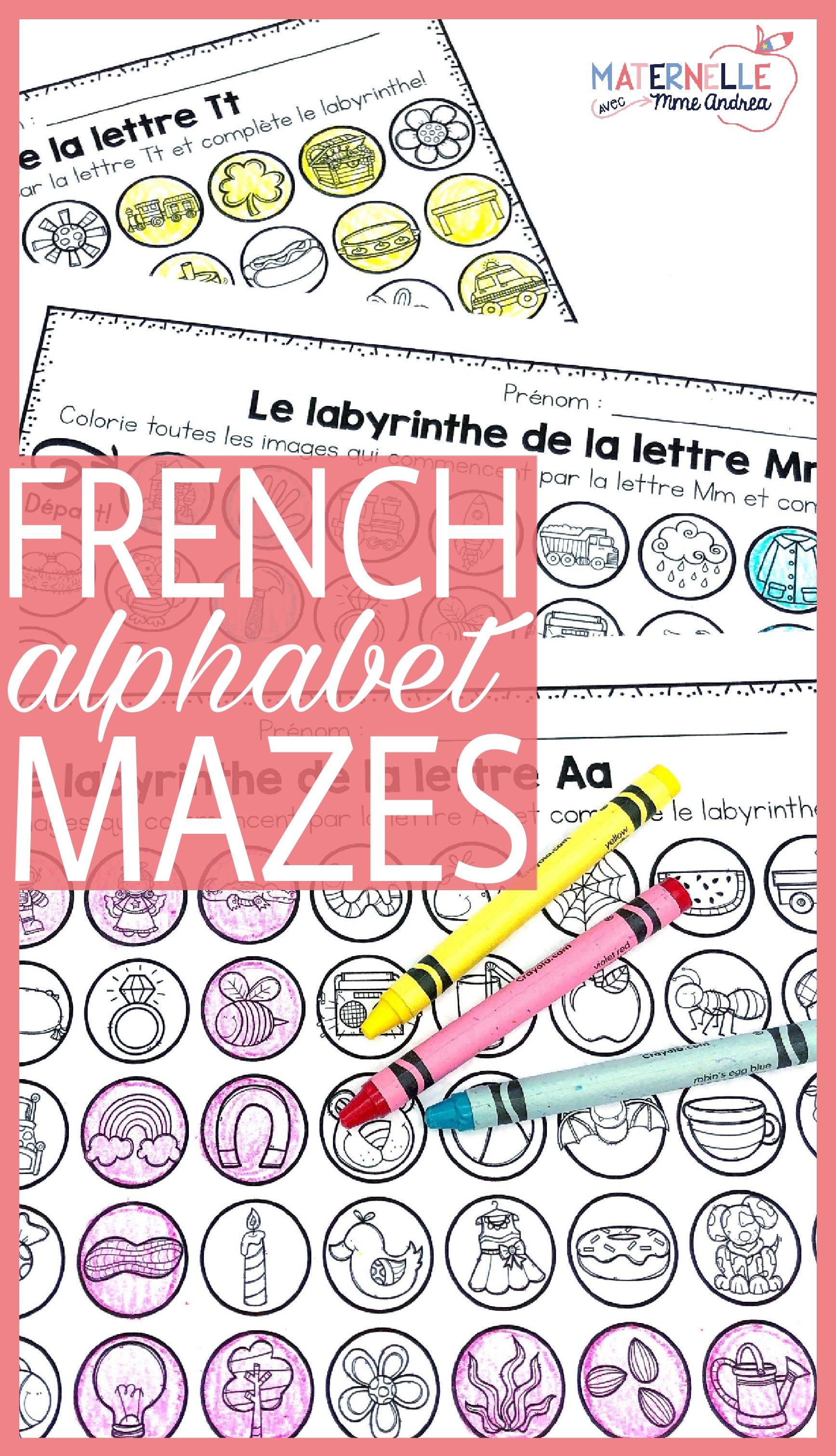 Labyrinthes des lettres (Letter Mazes for the FRENCH alphabet ...