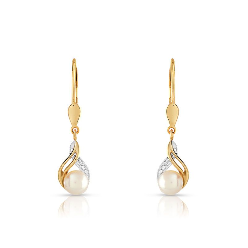 Boucles D Oreilles Or 375 2 Tons Perle Culture Chine Diamant Among