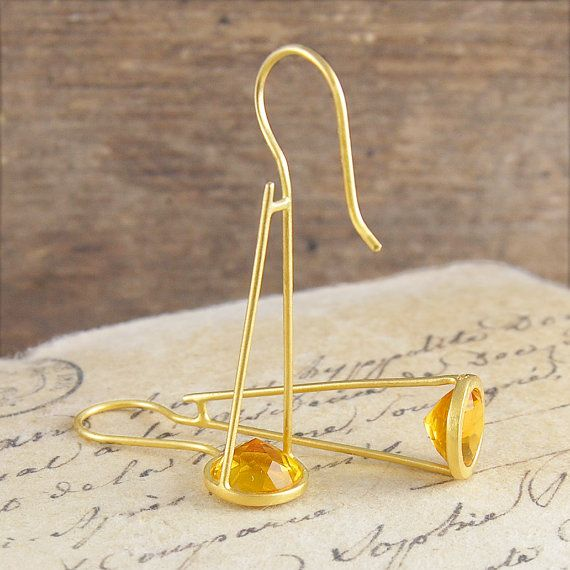 Citrine Drop Earrings November Birthstone by EmbersJewelleryShop