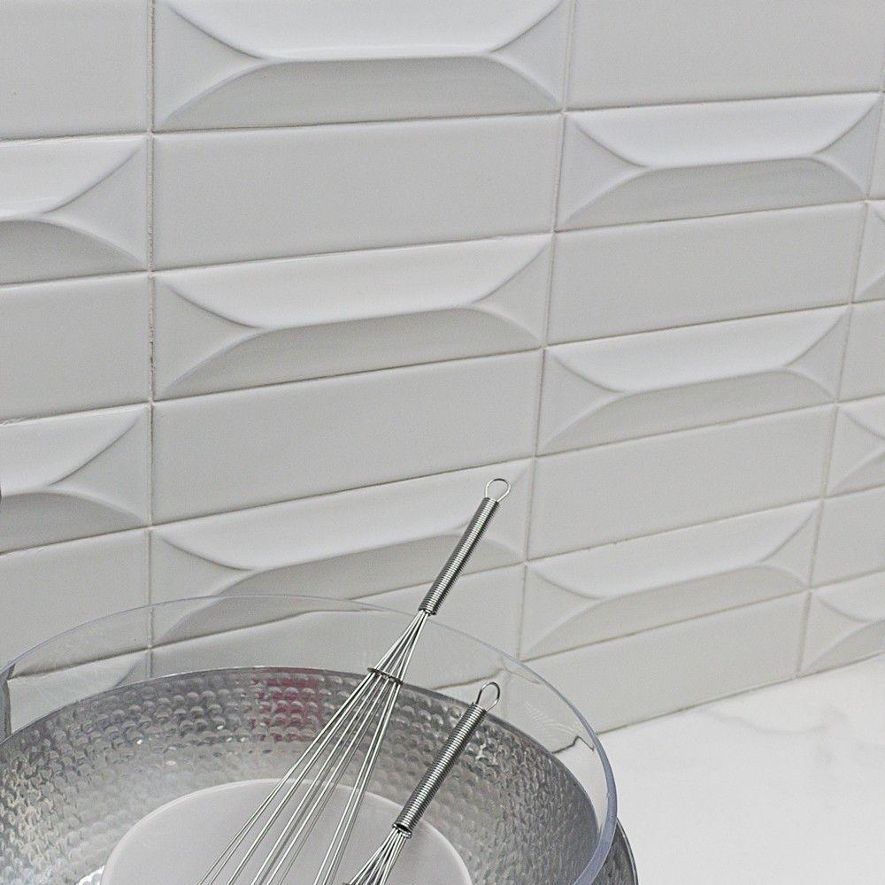 - Byzantine 3D Bianco Ceramic White Subway Tile Ceramic Subway