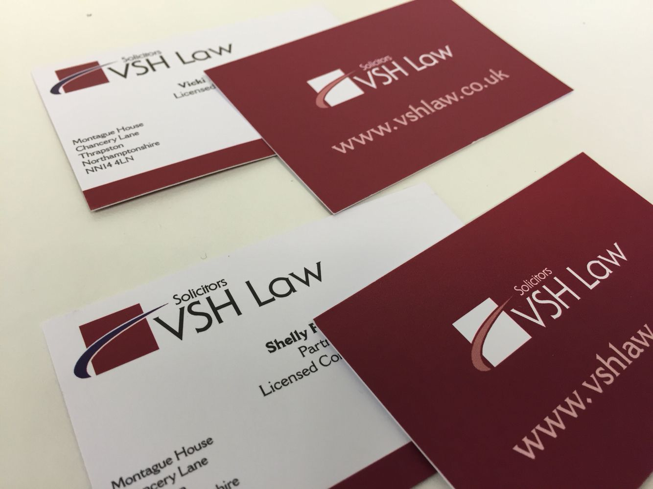 smooth uncoated business cards printed digitally in full colour on a 350gsm board