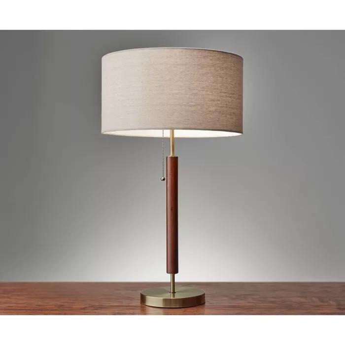 26 25 Hamilton Table Lamp Walnut Adesso Brass Table Lamps Table Lamp Walnut Table