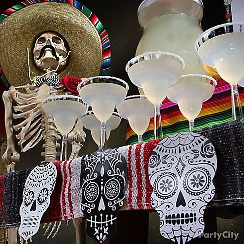 this sugar skull garland is to diy for just tape foil skulls from mexican halloweenhalloween - Mexican Halloween Skulls