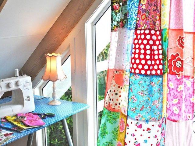 Cortinas alegres hechas con patchwork manteles y dem s - Cortinas hechas en casa ...