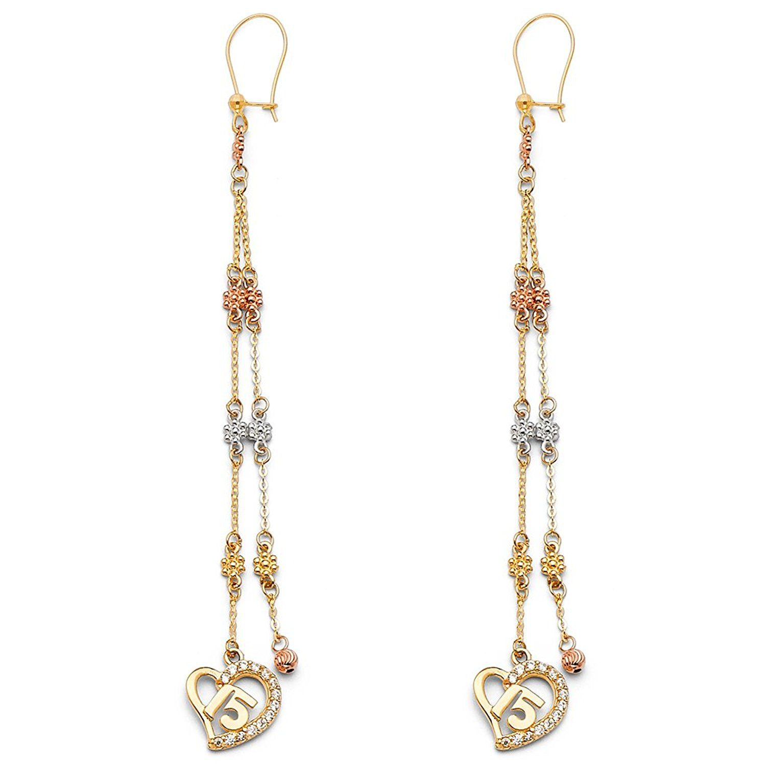 14K Two Tone Gold Perforated Ball Hanging Shepherds Hook Earrings Ioka
