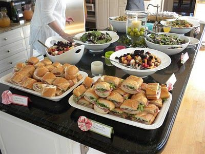 sandwiches fruit and salad are good choices especially for a buffet