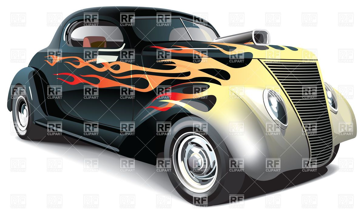 Hot Rod Muscle Car Art American Muscle Drag Car With Flame