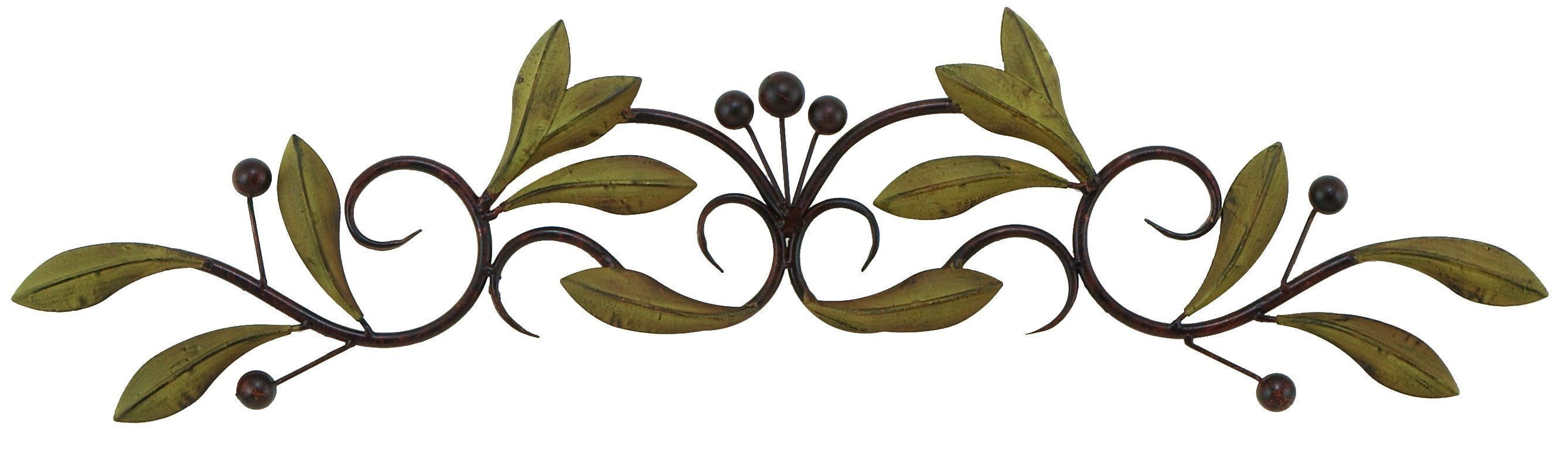 31 Olive Branch Door Top Wall Hanging In Metal Green And
