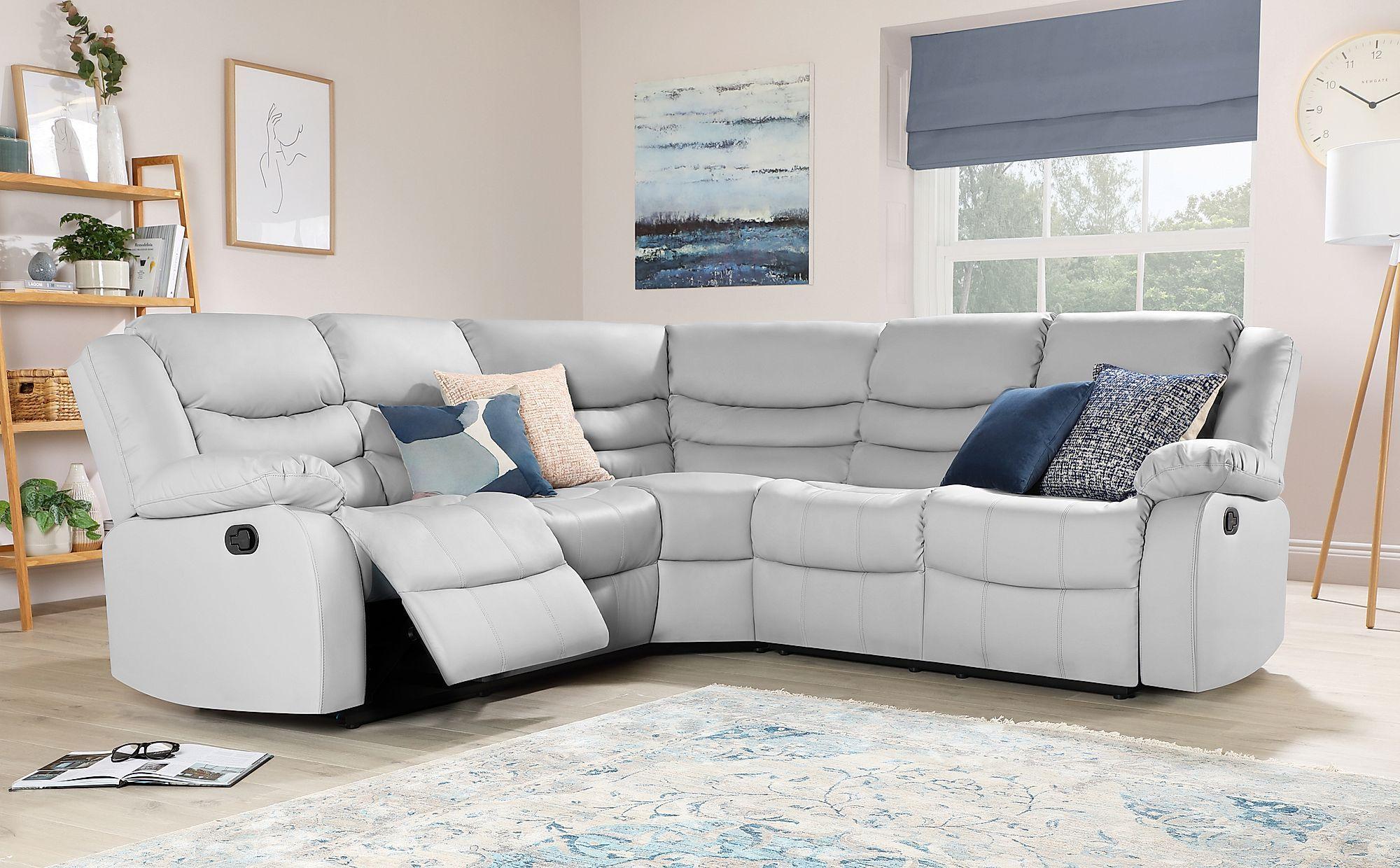 Best Sorrento Light Grey Leather Recliner Corner Sofa In 2020 400 x 300