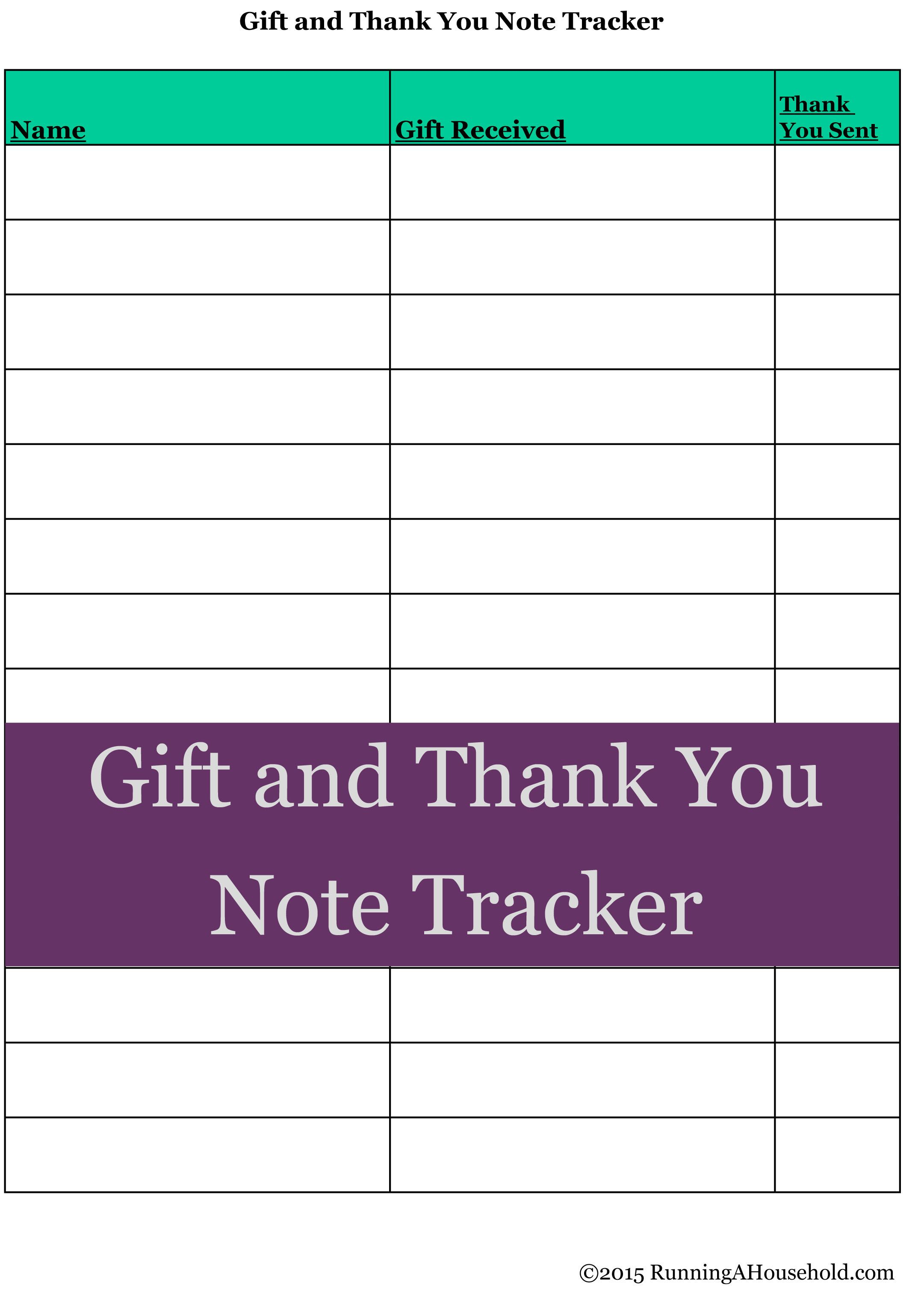 Gift and Thank You Note Tracker; great printable chart for