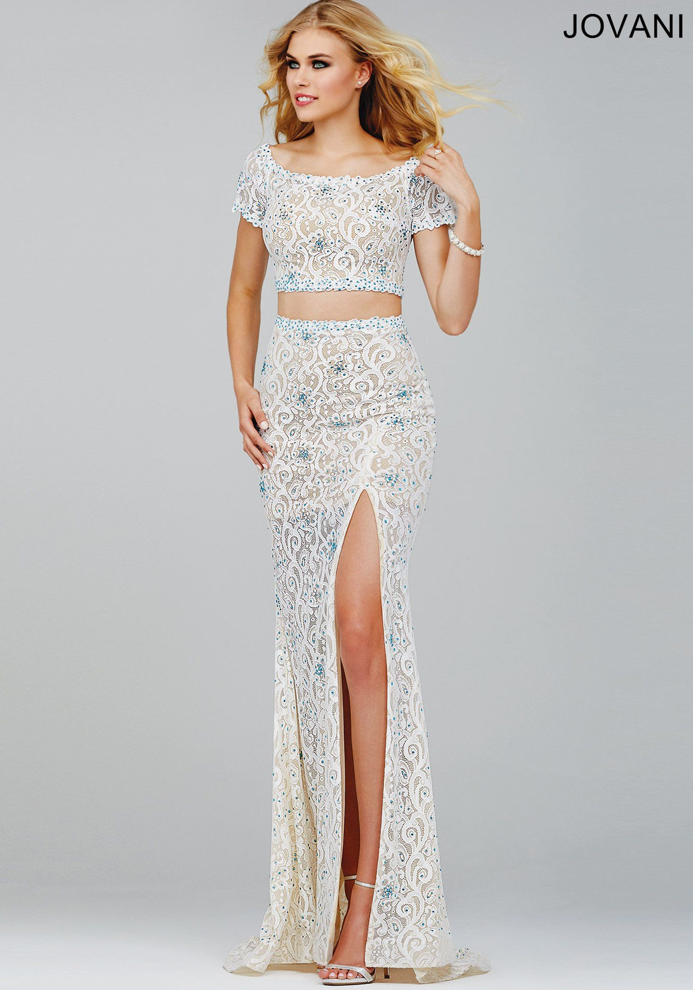 Off White/Nude Lace Two-Piece Prom Dress 27042 | Cool stuff to buy ...