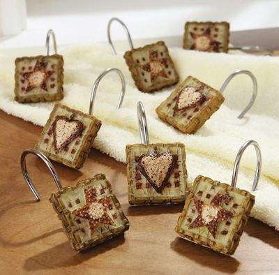 Hearts And Stars Primitive Country Shower Curtain Hooks