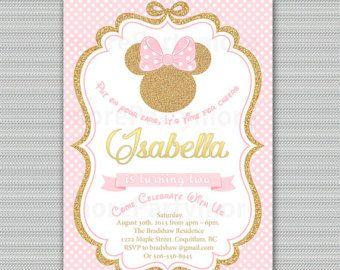 Rosa Y Oro Minnie Mouse Cumpleaños Fiesta Invitación