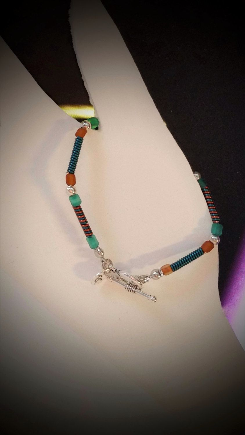 Ladies Teal and Copper Wire Coil Bracelet/Coiled Wire Bracelet for ...