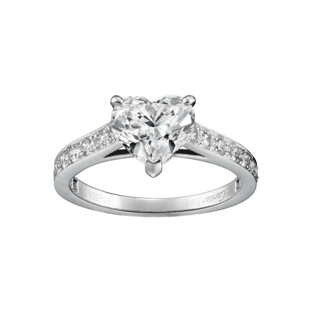 Cartier Solitaire 1895 Heart Shape Engagement Ring Platinum