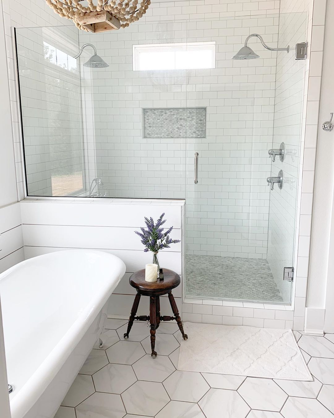 Nothing Better Than A Classic Bathroom With A Soak Tub And Gorgeous Clean Shower With Master Bathroom Shower Bathroom Remodel Shower Farmhouse Master Bathroom