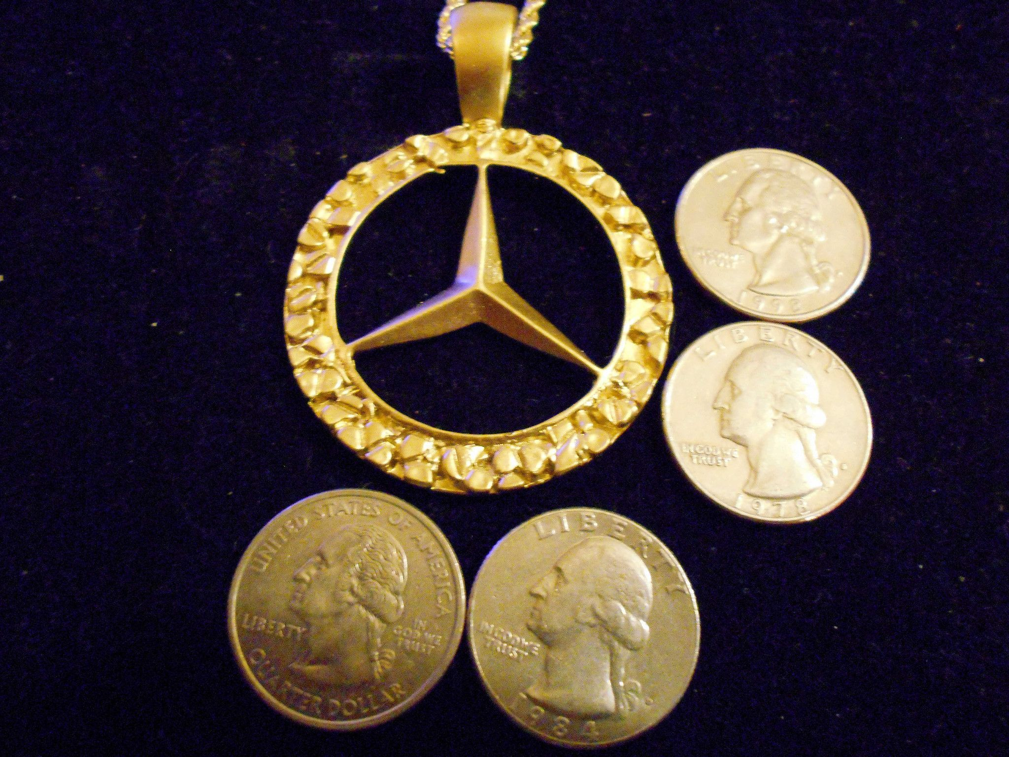 bling 14k yellow gold plated nugget mercedes benz pendant charm 24