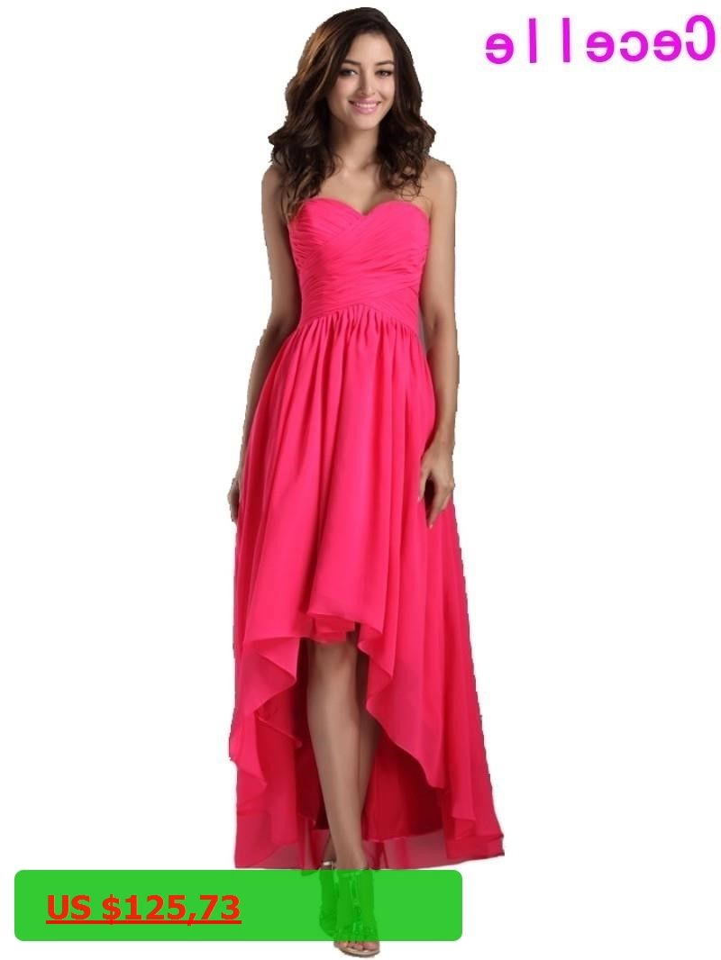 High low wedding dresses cheap   Real Long High Low Fuchsia Bridesmaid Dresses For Cheap