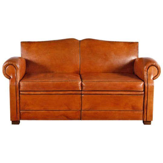 Swell French Art Deco Leather Club Sofa 1930S Pa Beautiful Frankydiablos Diy Chair Ideas Frankydiabloscom