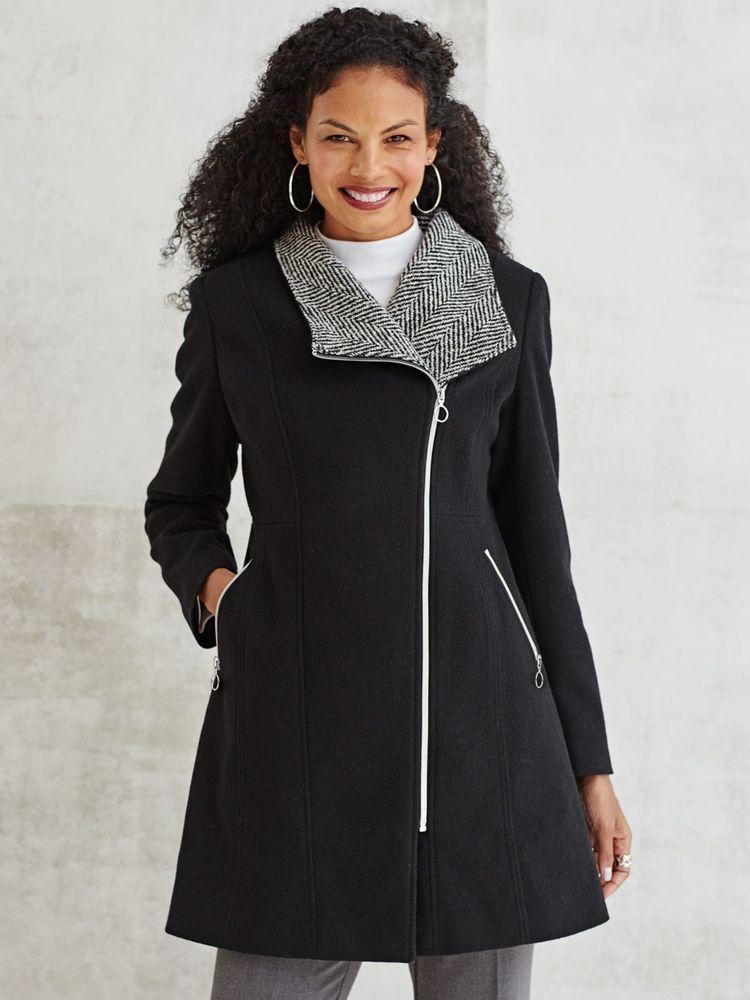 Woman's Beautiful Wool Coat - Black Herringbone Wool Peacoat - 10 ...