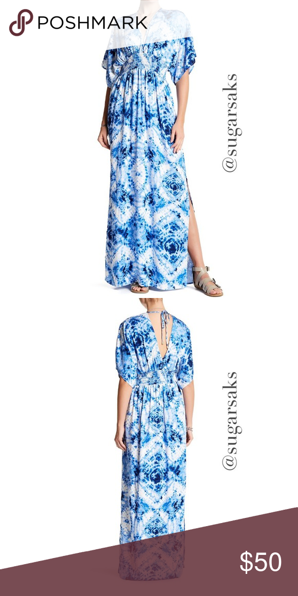 efaa4eeeda16 Love Stitch Kimono Sleeve Maxi Dress Gorgeous blue/white print festive  smocked waist dress. V-neck, Short kimono sleeves, V-back with tie detail ,  smocked ...
